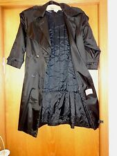Woman's sz 8 - Black Nylon TRENCH COAT - JH - 3-4 season RAINCOAT - Excellent