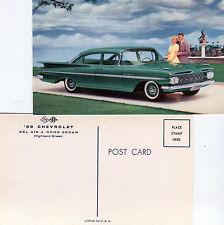 1959 Chevrolet  Bel Air 4-Door Sedan Advertising Postcard