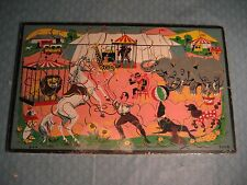 """ANTIQUE WOODEN CHILD'S CIRCUS PUZZLE 12"""" X 19"""" COMPLETE """"LOOK"""""""