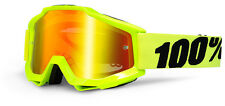 100% MASCHERINA OCCHIALE ACCURI FLUO YELLOW GIALLO NERO MOTO CROSS ENDURO GOGGLE