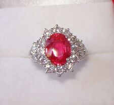 4.44 CT PINK TOURMALINE & WHITE SAPPHIRE RING SZ 6.25 - WHITE GOLD over 925 SS
