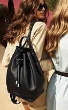 NWT MICHAEL Kors DALIA Large Drawstring Backpack Pebbled Leather BLACK $428