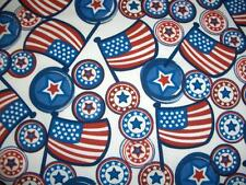 July 4th Patriotic Flags Circles Stars Red White Blue Cotton Quilt Fabric BTY