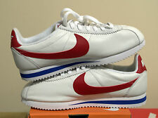 Nike Cortez Classic LEATHER Premium QS Forrest Gump White Red Blue Size 9.5