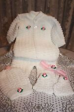 DARLING Knit Baby Doll Outfit For Reborn WHITE w/Bright Pink Flowers & Headband