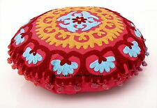 "16"" Indian Red Handmade SuzaniEmbroidered Work Cushion Throw Hippie Pillow Cover"