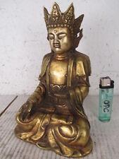 ältere Buddha Figur mit Krone Bronze feuervergoldet  ~1970 19cm