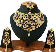 INDIAN JEWELLERY SET DELICATE STYLE GOLD PLATED PURPLE CLEAR STONE NEW AQ/08