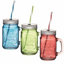 Retro Glass Coloured Cocktail Drinking Handled Jam Mason Jars Lids & Straw x 3