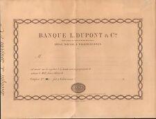 RARE =  BANQUE L. DUPONT & Cie à VALENCIENNES (NORD 59) (P)