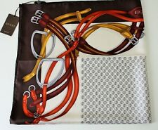 NWT GUCCI AUTHENTIC HORSEBIT MULTICOLOR LOGO PRINT BROWN 100% SILK TWILL SCARF