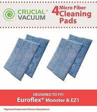 4 Washable Steam Mop Pads Fit Euroflex Monster EZ1 Steam Mop