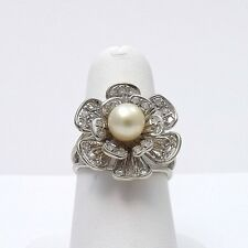 14k White Gold Vintage Akoya Pearl Pave Diamond Blooming Rose Flower Ring Sz 7.5