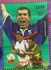 ZINEDINE ZIDANE FRANCE REAL MADRID JUVENTUS CALCIO SOCCER CHAD FOOTBALL MNH **