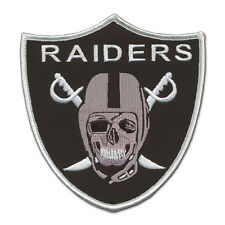 "Large Oakland Raider Skull Patch (5"" X 4 3/4"") Great Detail - Silver and Black"