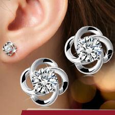 Women's Solid 925 Silver Earrings AAA Zircon Ear Stud fashion jewelry Xmas Gift