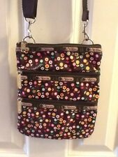 LE SPORTSAC Hipster Crossbody Bag Brown Pink Green Yellow Floral