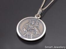 925 STERLING SILVER ROUND ST SAINT CHRISTOPHER ANTIQUED ANODISED PENDANT CHAIN