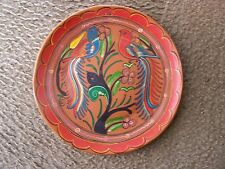 Vintage Red Colored Ceramic Plate with Birds and Flowers - Tonala, Mexico