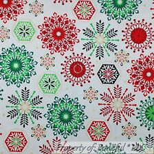 BonEful Fabric Cotton Quilt Red Green White Snowflake Xmas Gold Dot L SALE SCRAP