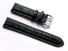 High Quality Lug 22mm Black Genuine Leather Alligator Grain Strap