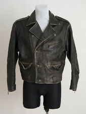 MENS SAKI STYLE BIKER JACKET 50'S BLACK OXID REAL LEATHER SIZE S/M SMALL