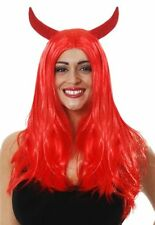 Red Devil Wig, girls sexy horror party Halloween Fancy Dress accessory V40 005