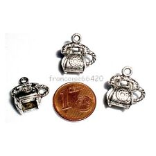 B287// LOT 3 BRELOQUES CHARMS PERLES / TELEPHONE 15.5mm / CREATION BIJOUX BRACEL