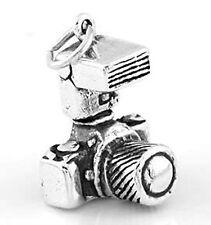 SILVER SLR PHOTOGRAPHER'S CAMERA CHARM/ PENDANT