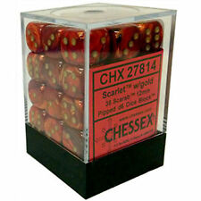 Chessex Dice (36) Block Sets 12mm D6 Scarab Scarlet Red w/ Gold Pips CHX 27814