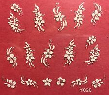 Nail Art 3D Decal Stickers White Flowers Y020
