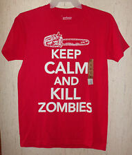 """NWT MENS urban PIPELINE """"KEEP CALM AND KILL ZOMBIES"""" RED NOVELTY TSHIRT SIZE M"""