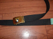 U.S MILITARY STYLE BLACK WEB BELT WITH 101st AIRBORNE BRASS BUCKLE