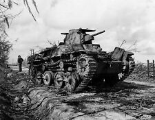 WW2 Photo WWII  Captured Disabled  Japanese Type 95 Tank on Tinian 1944  / 4127