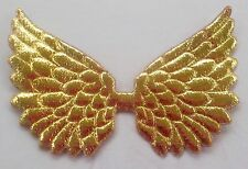 100! Angel & Fairy Wings - Padded Metallic Gold Wing Embellishments 7cm/2.5""