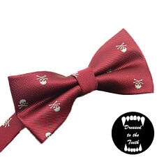 Burgandy Bow Tie Skull Print Quirky Alternative Formalwear Wedding Party UK