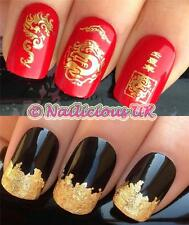 NAIL ART SET #27 CHINESE DRAGON WATER NAIL TRANSFERS/DECALS/STICKERS & GOLD LEAF