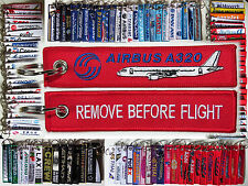 Airbus A320 tag: REMOVE BEFORE FLIGHT keyring keychain for pilot crew - NEW!