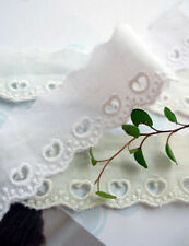14yds cotton Embroidery eyelet lace Trim simple cutie love heart shape white