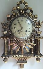 ORNATE ANTIQUE SWEDISH GILT WESTERSTRAND WALL CLOCK, 1940'S, BEAUTIFUL