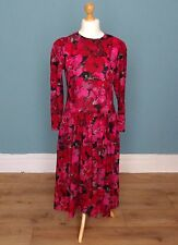 Vintage 80's Jaeger Wool Floral Print Dress Retro Boho 14