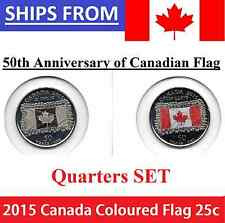 2015 25 cent SET 50th Anni Canadian Flag Canada (2 coins) Color and Non Coloured