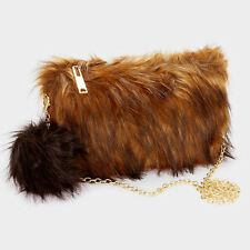 Faux Fox Fur Evening Brown Retro Shoulder Bag Clutch Purse