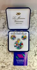 Murano glass-set Of 3 Pieces Earrings+pendant Murrina.Silver.Made in Italy