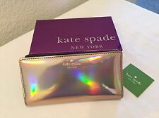 NWT Kate Spade Rainer Lane Iridescent Rose Gold Stacy Wallet PWRU5201
