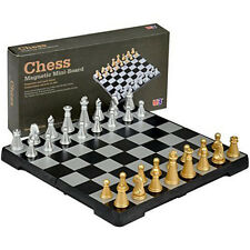 Portable Travel Magnetic Plastic Board Tournament Chess Set Pieces Silver & gold