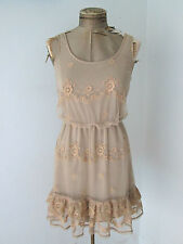 Boutique tan floral lace net tank dress tiered baby doll style ruffle hem Sz S