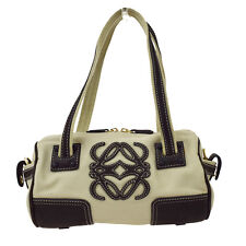 Authentic Loewe Logos Shoulder Bag Canvas Leather Brown Beige Gold 07A530