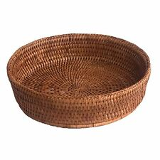 Round Rattan Wicker Bread or Fruit Bowl or Oven Dish Holder