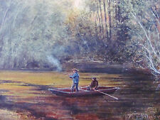 J.R. DICKINSON - HUNTING - LISTED ARTIST WATERCOLOR - C. 1880 - FREE SHIP US!